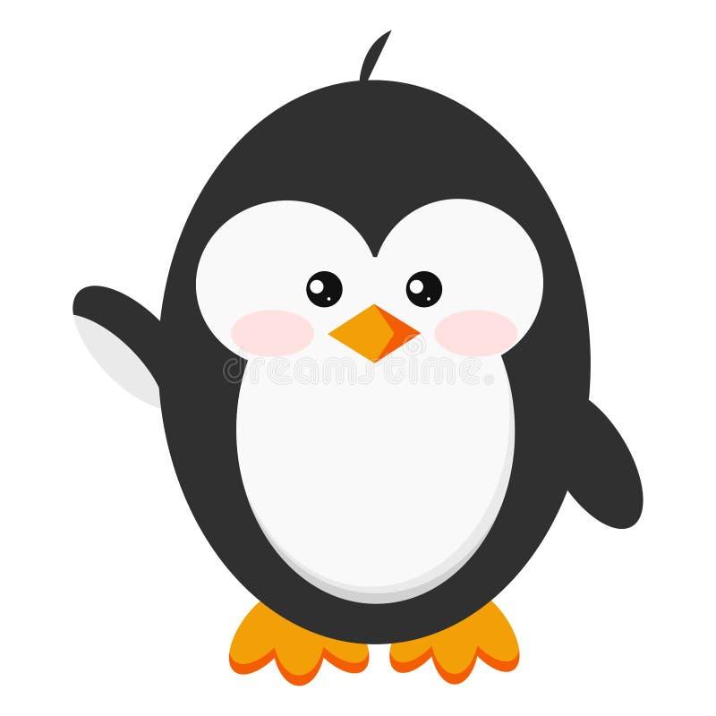 Icona sveglia del pinguino del bambino ciao nella posa stante isolata su fondo bianco royalty illustrazione gratis