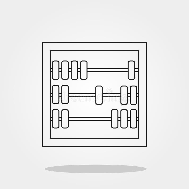 Icona sveglia dell'abaco nello stile piano d'avanguardia isolata sul simbolo grigio della scuola del fondo per la vostra illustra illustrazione di stock