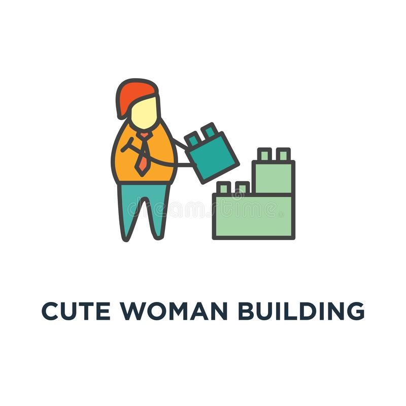 icona sveglia della parete della particella elementare della donna costruzione dai blocchi, 'brainstorming', sviluppo, soluzione, illustrazione vettoriale
