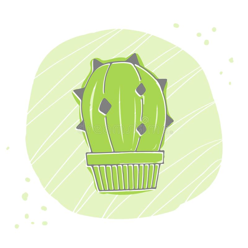 Icona sveglia della siluetta del cactus di verde del fumetto Illustrazione di vettore illustrazione di stock