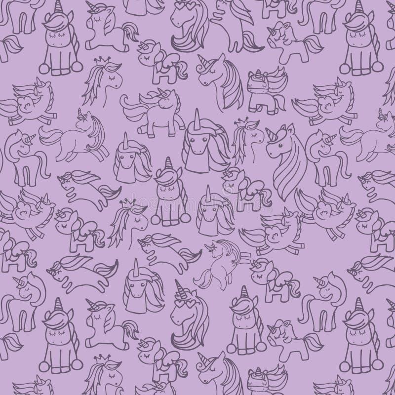 icona sveglia di disegno degli unicorni dell'insieme illustrazione vettoriale