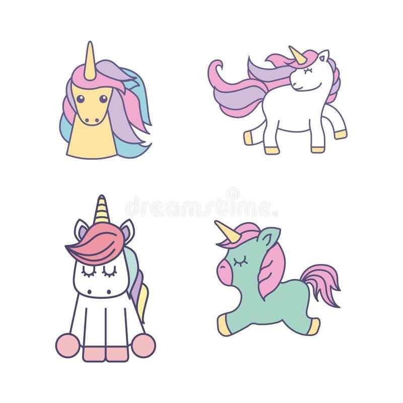 icona sveglia di disegno degli unicorni dell'insieme royalty illustrazione gratis