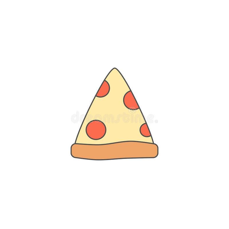Icona sveglia di vettore di scarabocchio della fetta della pizza del fumetto isolata su fondo bianco illustrazione di stock