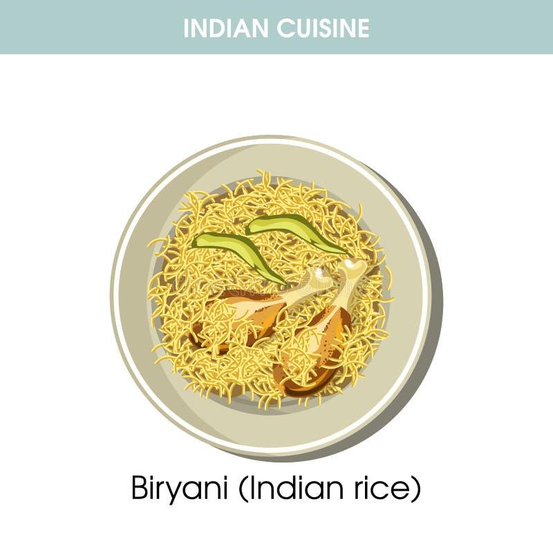 Icona tradizionale di vettore dell'alimento del piatto di cucina del riso indiano di Biryani per il menu del ristorante illustrazione di stock