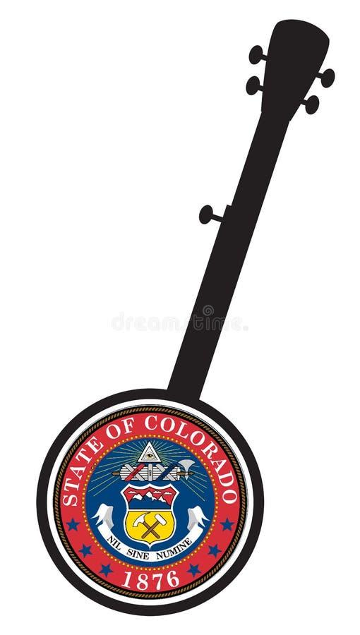 Icona Tradizionale 5 Stringa Banjo Silhouette Con Sigillo Stato Colorado illustrazione di stock