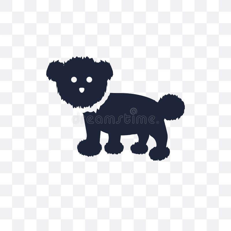 Icona trasparente del cane di Bichon Frise Desig di simbolo del cane di Bichon Frise illustrazione di stock