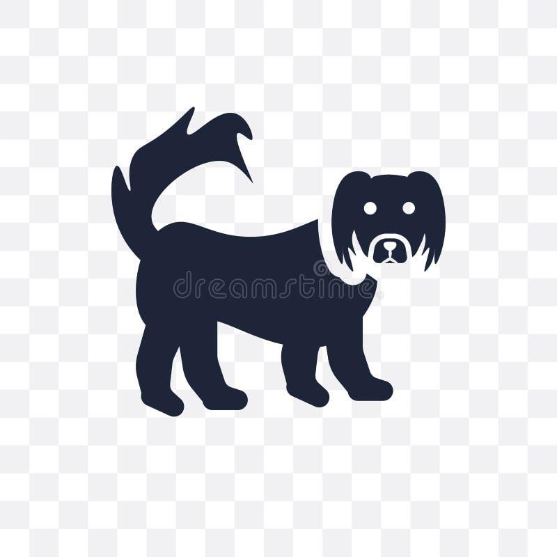 Icona trasparente del cane di pechinese Progettazione di simbolo del cane di pechinese da illustrazione vettoriale