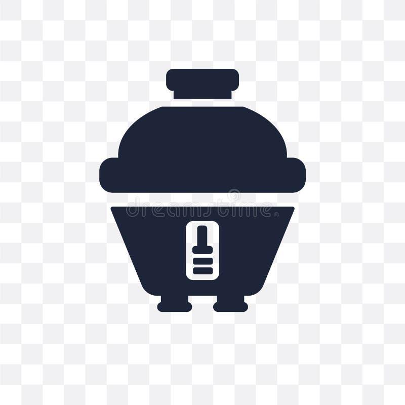 Icona trasparente del fornello di riso Progettazione di simbolo del fornello di riso da Ele illustrazione vettoriale