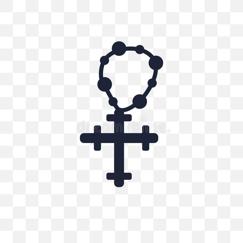 Icona trasparente del rosario Progettazione di simbolo del rosario dal coll di religione royalty illustrazione gratis