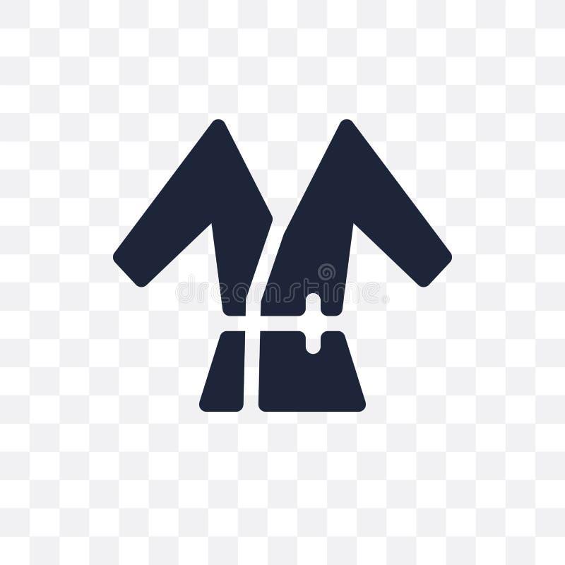 Icona trasparente dell'accappatoio Progettazione di simbolo dell'accappatoio dal passo dell'hotel illustrazione vettoriale