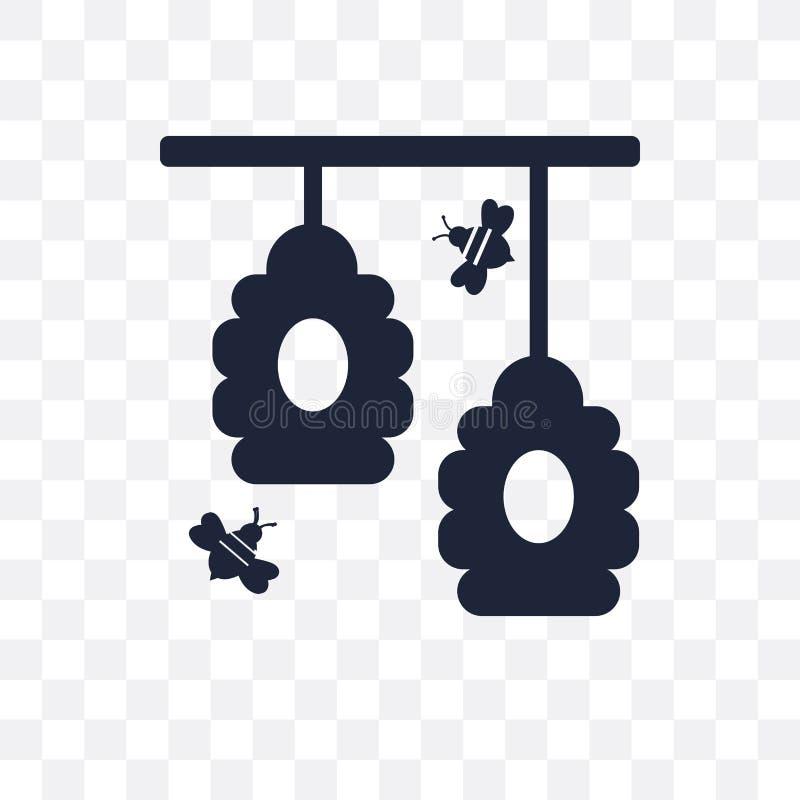 Icona trasparente dell'alveare Progettazione di simbolo dell'alveare da agricoltura, azienda agricola illustrazione di stock