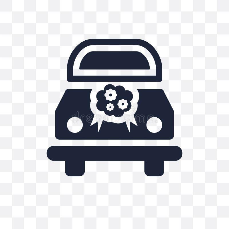 Icona trasparente dell'automobile di nozze Progettazione di simbolo dell'automobile di nozze a partire da mercoledì illustrazione vettoriale