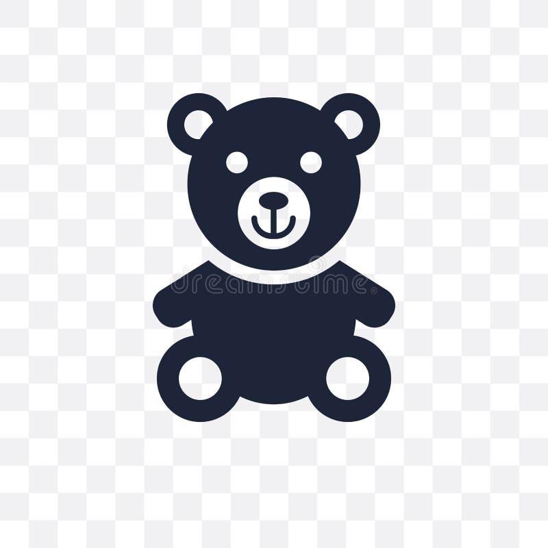 Icona trasparente dell'orsacchiotto Progettazione di simbolo dell'orsacchiotto dalla nascita illustrazione vettoriale