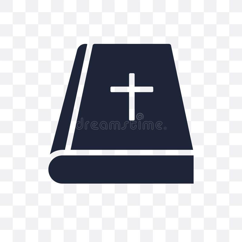 Icona trasparente della bibbia Progettazione di simbolo della bibbia dal collec di religione illustrazione vettoriale