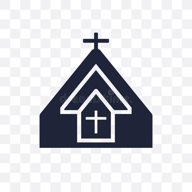 Icona trasparente della chiesa Progettazione di simbolo della chiesa dal coll di religione illustrazione di stock