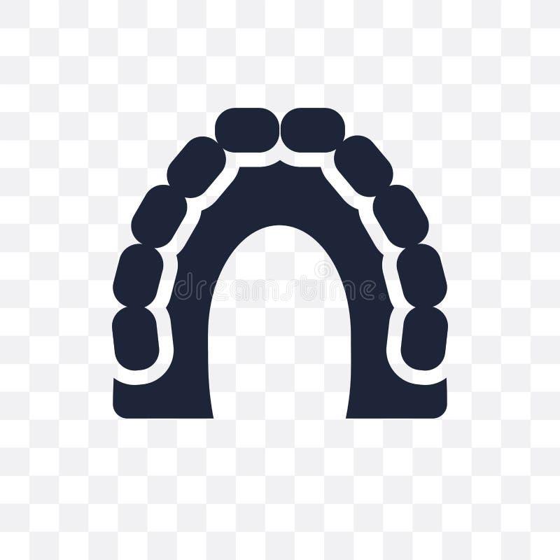 Icona trasparente della mascella superiore Progettazione di simbolo della mascella superiore dal passo del dentista illustrazione vettoriale