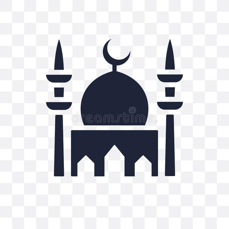 Icona trasparente della moschea Progettazione di simbolo della moschea dal coll di religione illustrazione di stock