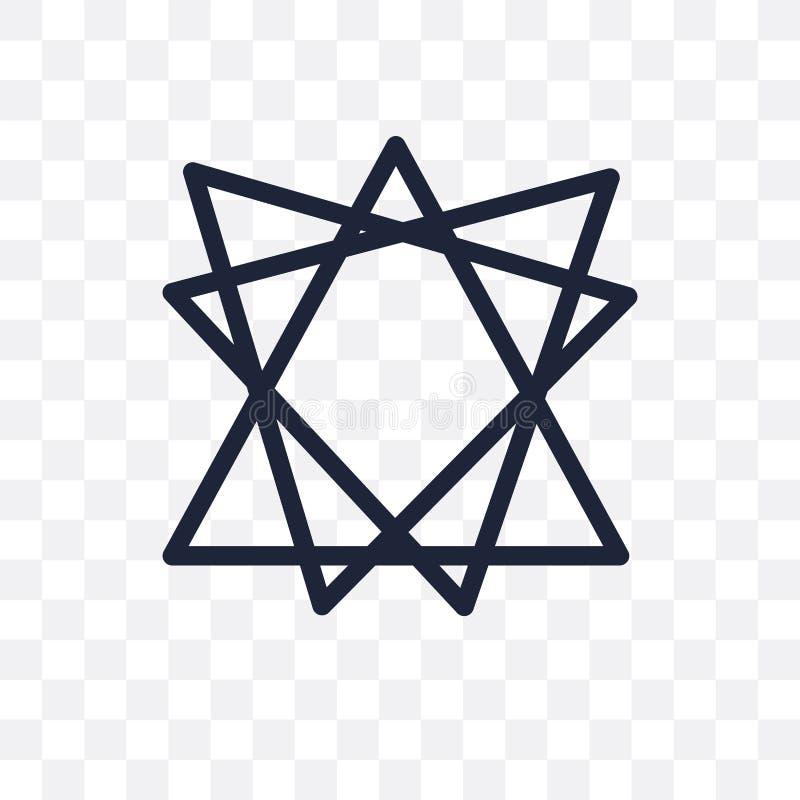 Icona trasparente di Bahai Progettazione di simbolo di Bahai dal collec di religione royalty illustrazione gratis
