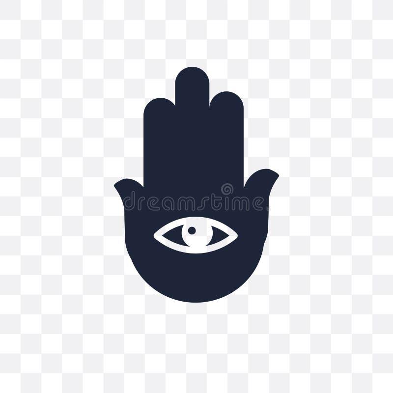 Icona trasparente di Hamsa Progettazione di simbolo di Hamsa dal collec di religione illustrazione vettoriale