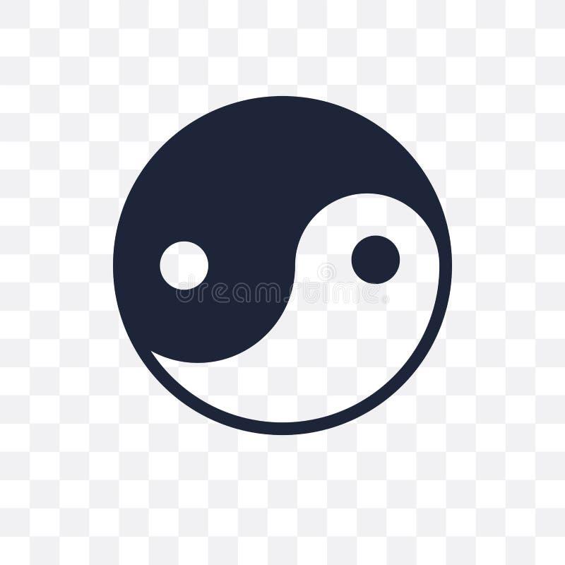 Icona trasparente di Yin Yang Progettazione di simbolo di Yin Yang dalla religione illustrazione vettoriale