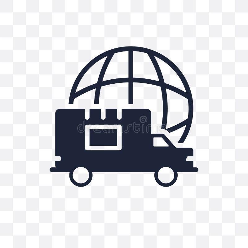 Icona trasparente logistica globale Progettazione logistica globale di simbolo illustrazione di stock