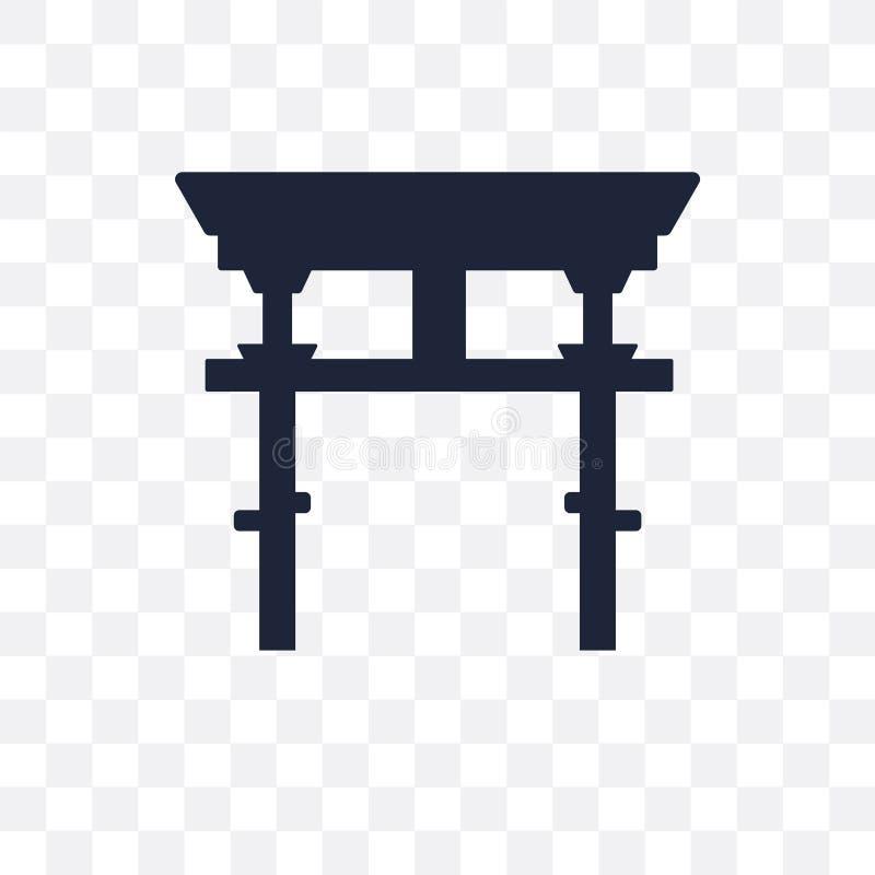 Icona trasparente shintoista Progettazione shintoista di simbolo dal coll di religione illustrazione vettoriale