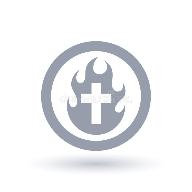 Icona trasversale cristiana del fuoco Simbolo della fiamma e della croce di Spirito Santo illustrazione di stock