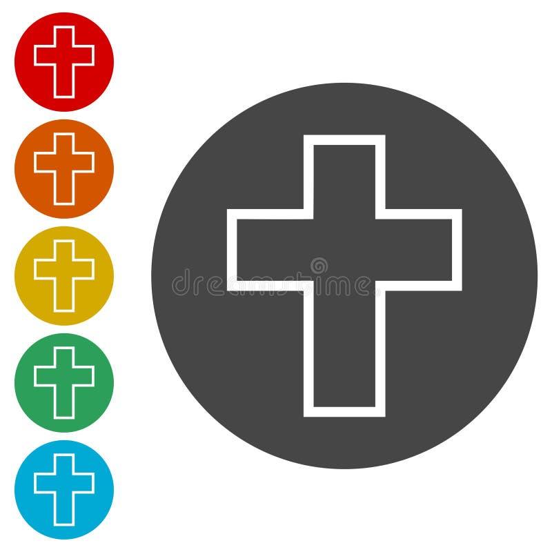 Icona trasversale di religione nel cerchio illustrazione di stock