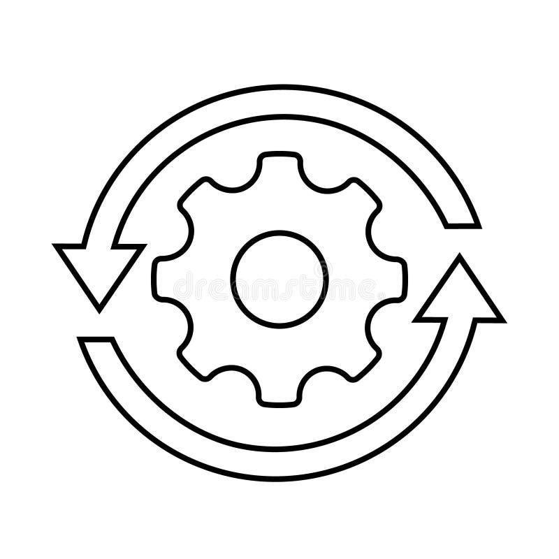 Icona trattata di flusso di lavoro nello stile piano Innesti la ruota del dente con l'illustrazione di vettore delle frecce su fo illustrazione vettoriale