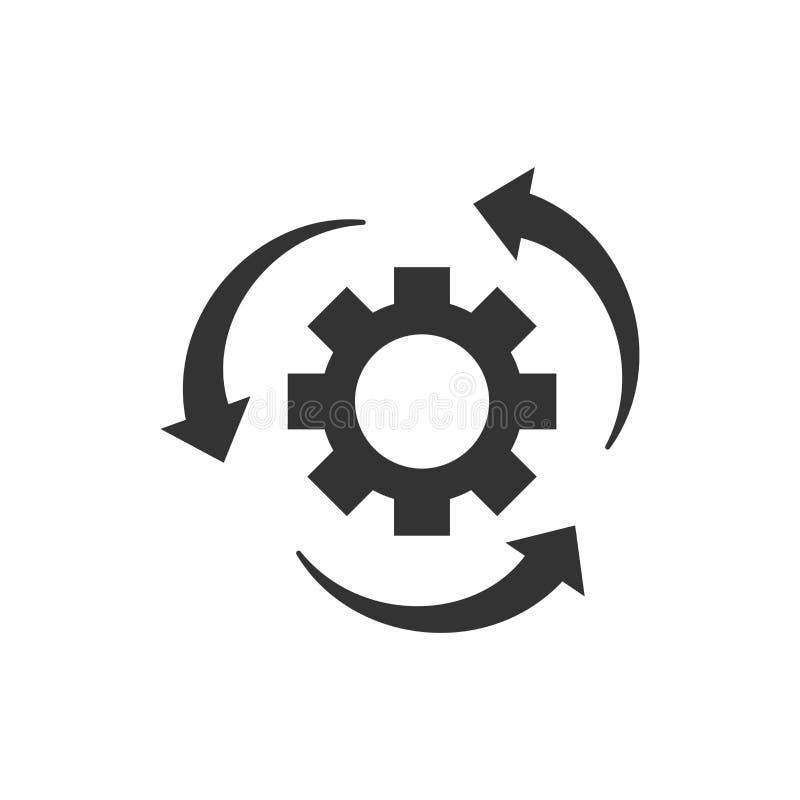 Icona trattata di flusso di lavoro nello stile piano Ruota del dente dell'ingranaggio con le frecce illustrazione di stock