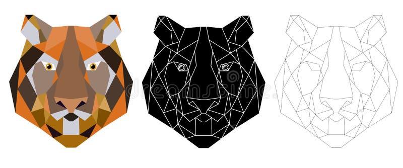 Icona triangolare capa della tigre, d'avanguardia geometrico illustrazione vettoriale