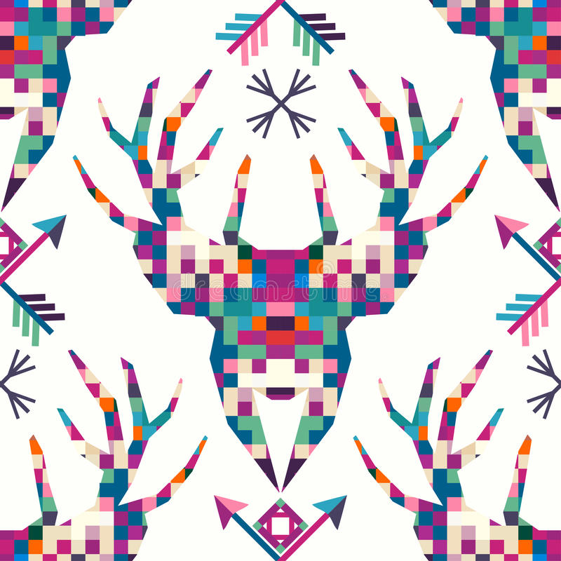 Icona triangolare del pixel dei cervi capi dell'animale illustrazione vettoriale