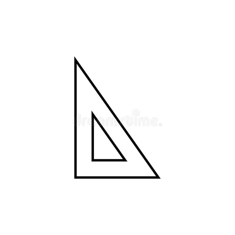 Icona triangolare del righello Elemento per i apps mobili di web e di concetto Linea sottile icona per progettazione del sito Web royalty illustrazione gratis