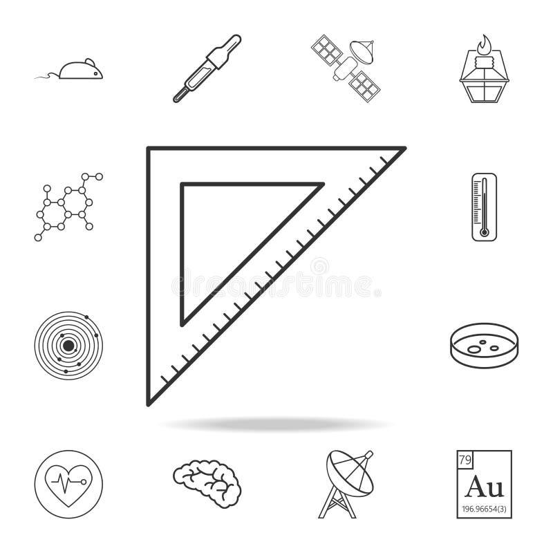 Icona triangolare del righello Insieme dettagliato di scienza e di apprendimento delle icone del profilo Progettazione grafica di royalty illustrazione gratis