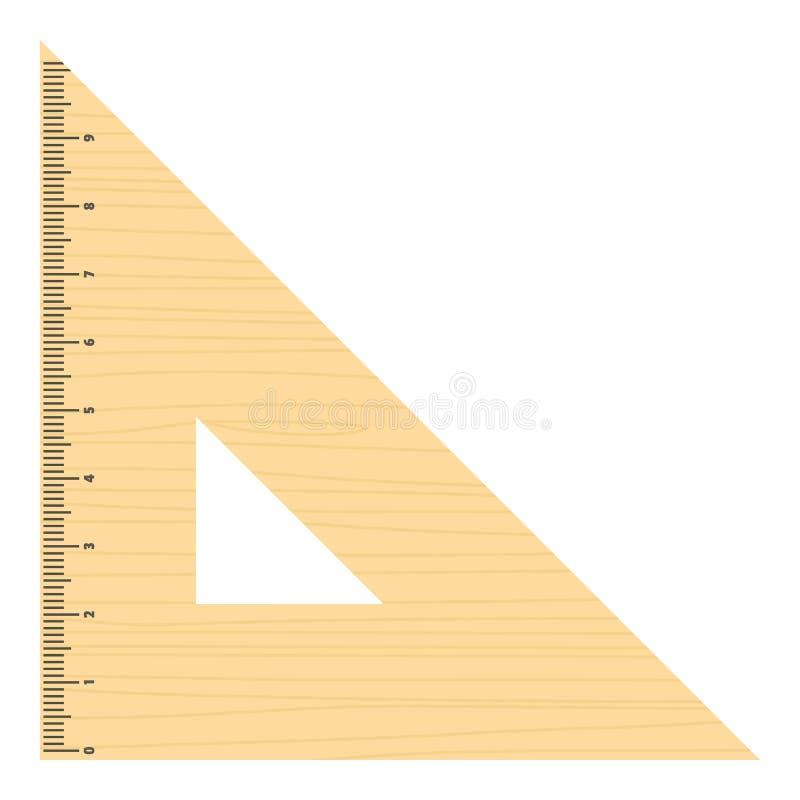 Icona triangolare del righello, stile piano royalty illustrazione gratis