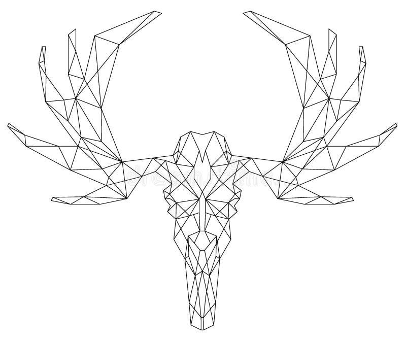 Icona triangolare della palella capa dei cervi illustrazione vettoriale