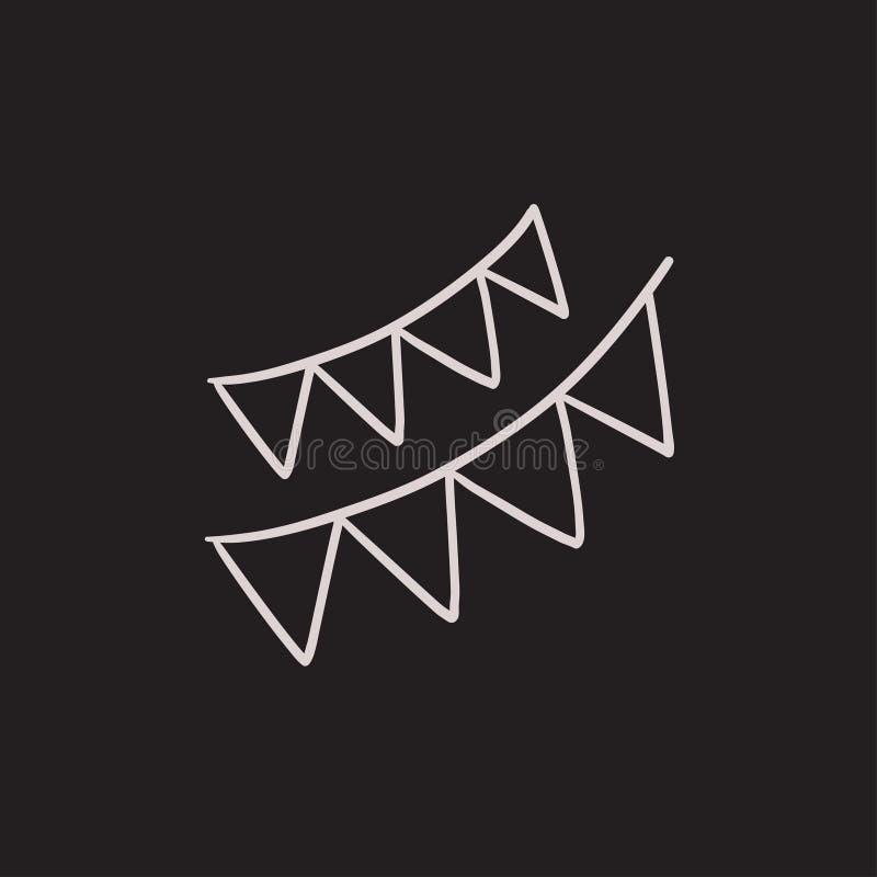 Icona triangolare di schizzo delle bandiere di Natale illustrazione vettoriale