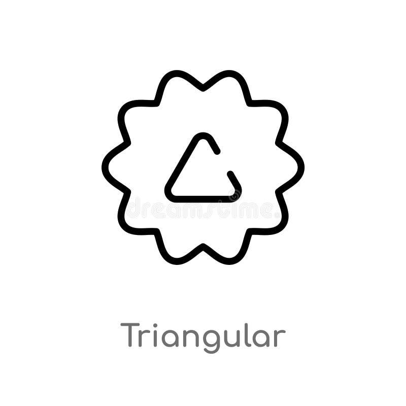 icona triangolare di vettore del profilo linea semplice nera isolata illustrazione dell'elemento dal concetto dell'interfaccia ut illustrazione di stock