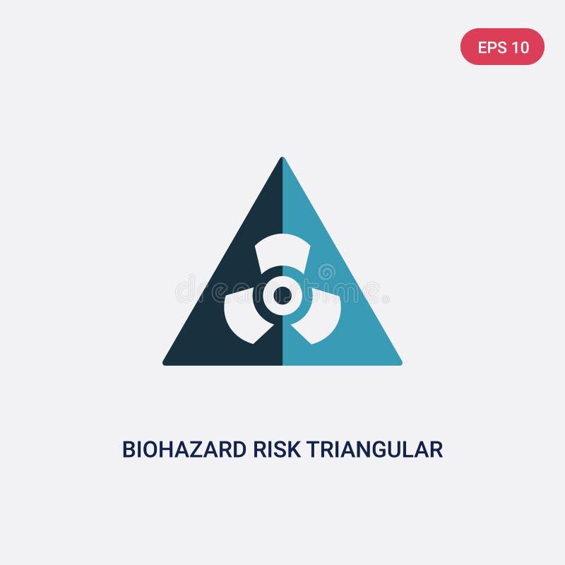 Icona triangolare di vettore di rischio di rischio biologico di due colori dal concetto dei segni il simbolo triangolare isolato  illustrazione di stock