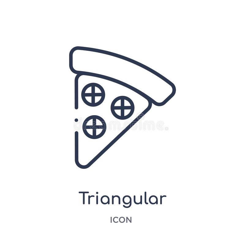 Icona triangolare lineare della fetta della pizza dalla raccolta del profilo dell'alimento Linea sottile icona triangolare della  illustrazione vettoriale