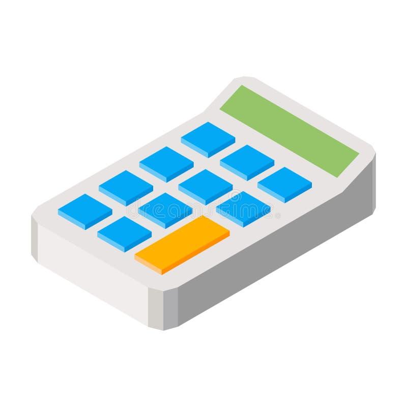 Icona tridimensionale di illustraition di vettore del calcolatore isolata su fondo bianco illustrazione di stock
