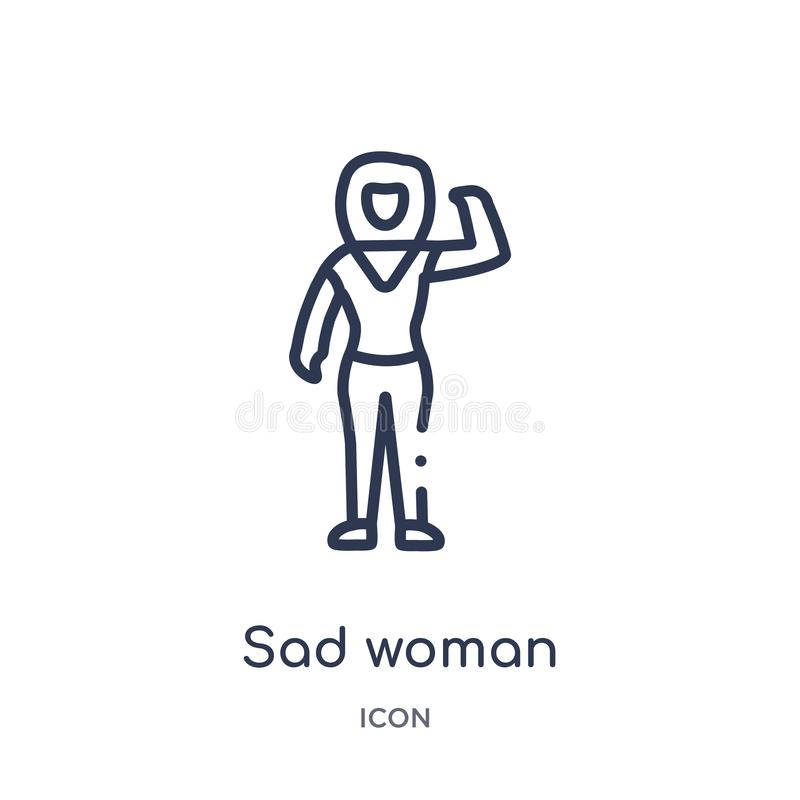 Icona triste lineare della donna dalla raccolta del profilo delle signore Linea sottile icona triste della donna isolata su fondo royalty illustrazione gratis