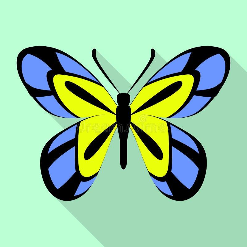 Icona tropicale della farfalla, stile piano illustrazione di stock