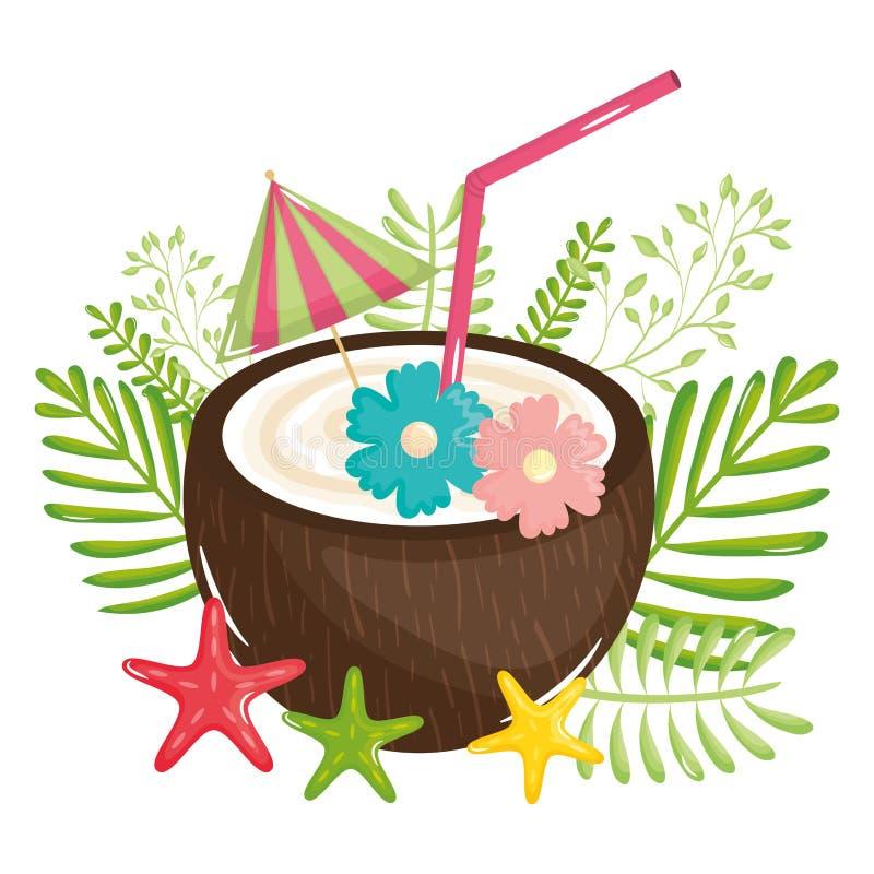 Icona tropicale di estate del cocktail della noce di cocco royalty illustrazione gratis