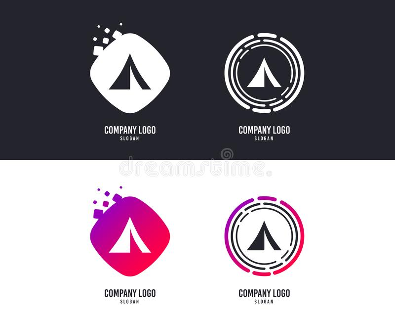 Icona turistica del segno della tenda Simbolo di campeggio Vettore illustrazione di stock