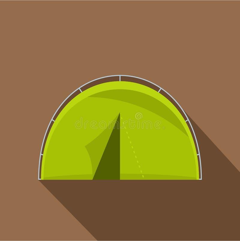 Icona turistica verde della tenda di campeggio, stile piano illustrazione di stock