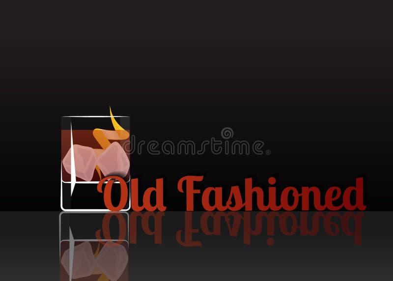Icona ufficiale del cocktail, l'illustrazione antiquata indimenticabile del fumetto illustrazione di stock
