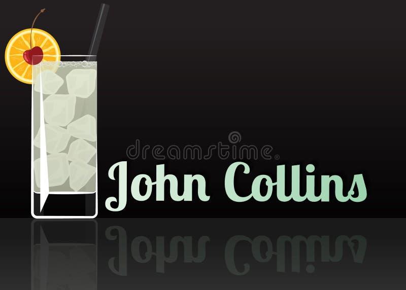 Icona ufficiale del cocktail, l'illustrazione indimenticabile del fumetto di John Collins illustrazione vettoriale