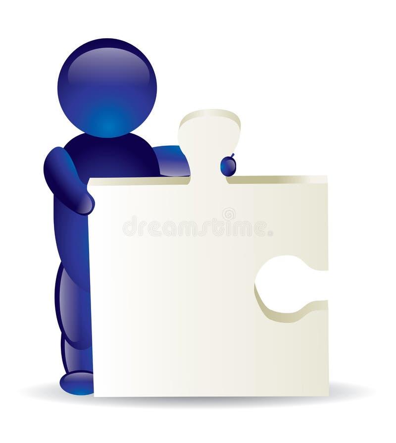 Icona umana con il puzzle illustrazione vettoriale