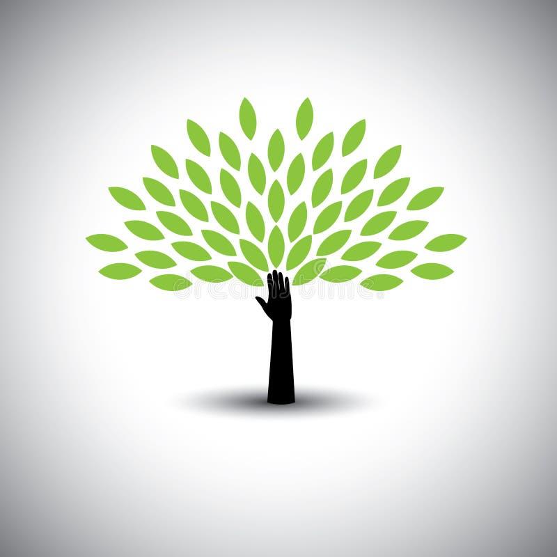 Icona umana con le foglie verdi - vettore dell'albero & della mano di concetto di eco illustrazione di stock